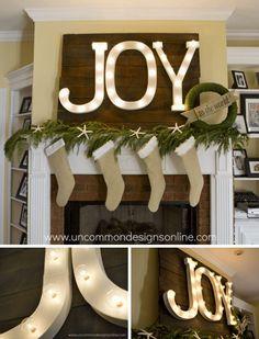 DIY Holiday Mantel Joy Marquee Sign