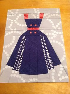 Annette - Vintage Dress - Paper Piecing or Foundation Piecing Quilt Block Pattern