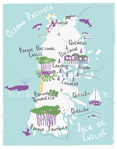 Illustrated map of Chiloe, Chile on Behance