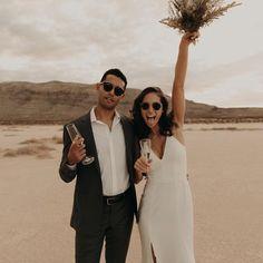 Bride and Groom on the beach or in the desert via Wedding Spot, Wedding Looks, Wedding Pictures, Destination Wedding, Dream Wedding, Las Vegas Weddings, Wedding Officiant, Wedding Bells, Marie