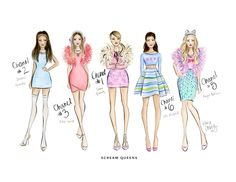 Scream Queens the Chanels watercolor fashion illustration by Kara Ashley Shreeve