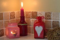 Decorate jars & bottles: Stick on a shape, spray with PlastiKote Stained Glass spray paint, allow to dry, then peel off shape sticker Spray Paint Projects, Paint Brands, Paint Effects, Decorated Jars, Spray Painting, Decorating Tips, Stained Glass, Recycling, Valentines
