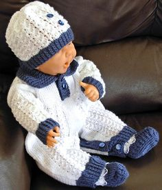 """Baby Boy 3 Piece Outfit Hand Knitted for 0-3 Month Baby or 20/22"""" Reborn Doll, All-in-one with Crotch Button opening, Hat, and Boots - HARRY..."""