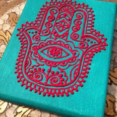 Red hamsa on turquoise mini canvas by Henna on Hudson . so fabulous! Mini Canvas, Canvas Art, Hamsa Painting, Hamsa Art, Hamsa Design, Hand Of Fatima, Hand Painted Canvas, Easy Paintings, Wire Art