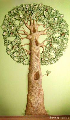 ideas for plaster tree sculpture Tree Branch Crafts, Tree Branch Decor, Mural Wall Art, Tree Wall Art, Tree Sculpture, Wall Sculptures, Tree Drawings Pencil, Mosaic Birds, Tree Canvas