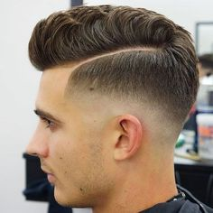 Mid Fade with Hard Part and Pompadour