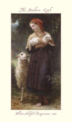 """The Newborn Lamb"" William Adolphe-Bouguereau  1873"
