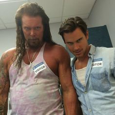 Pin for Later: What the Magic Mike XXL Cast Said About Wrapping the Stripper Sequel Iglesias posted this hilarious of picture of Bomer and Nash invading his trailer. White Collar Quotes, Kevin Nash, Pure Romance Consultant, Neal Caffrey, Magic Mike, Matt Bomer, Slim Man, Sexy Men, Beautiful People