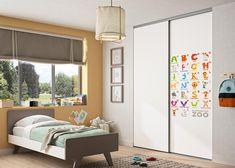 Chambre enfant : porte de placard sur-mesure Pixô. Personnalisez vos portes avec notre sélection d'images. Decoration, Divider, Images, Room, Furniture, Home Decor, Stretched Canvas, Closet Solutions, Sliding Door