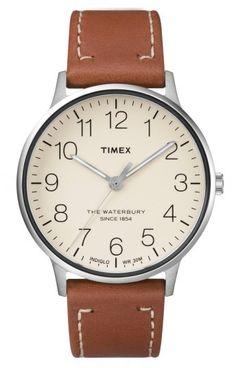 80b2f1cc3c7 Timex R) Waterbury Classic Leather Strap Watch