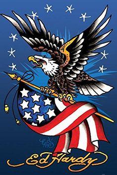 Ed Hardy American Eagle Old Glory Flag Stars Tattoo Art Patriotic Cool Wall Decor Art Print Poster Patriotic Pictures, Eagle Pictures, Tatoo Art, Tattoo Drawings, American Flag Drawing, American Art, Eagle Back Tattoo, Old Glory Flag, Ed Hardy Tattoos