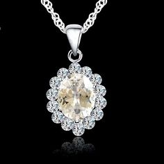Classic Clear White Oval Cubic Zirconia Silver Plated Pendant Necklace