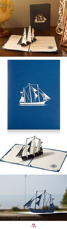 Surprise him with a unique pop up card full of sailing paper art. #SailAway