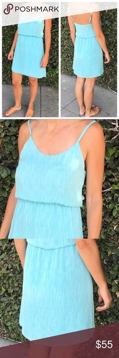 """Alice + Olivia Blouson Dress in Aqua In GUC, easy to throw on and a very pretty aqua color.  •Shoulder seam to hem measures approx 35"""" in length •Lined •Elastic waist •Adjustable shoulder straps •Dry clean only Alice + Olivia Dresses"""