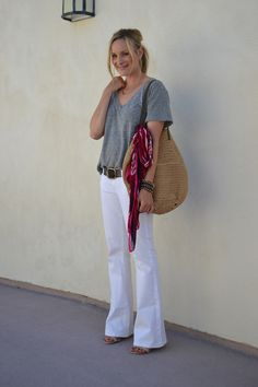 casual glamorous in white denim and vintage perf belt