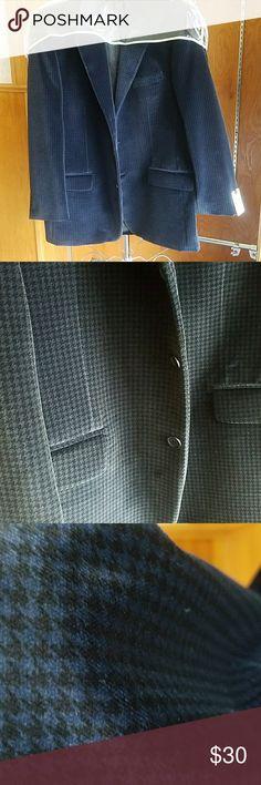 Navy/black checkered  velvet blazer 42 reg Velvet blazer navy/blk check pattern  100% cotton 42 reg Suits & Blazers Sport Coats & Blazers