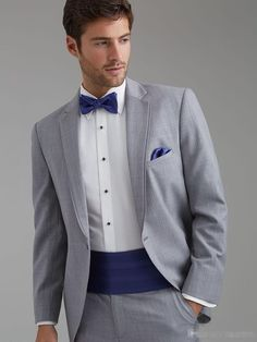New Arrival Light Grey Groom Tuxedos Groomsmen Men's Wedding Prom Suits Bridegroom (Jacket+Pants+Girdle+Tie) Men's Tuxedo Wedding, Blue Suit Wedding, Best Man Wedding, Wedding Dress Men, Wedding Men, Wedding Suits, Prom Tuxedo, Wedding Tuxedos, Wedding Groom