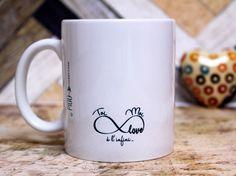 """Cadeau Saint Valentin. Mug """"L'équation parfaite"""". Tasse personnalisable. Déclaration d'amour. Texte et graphisme by Piou créations"""