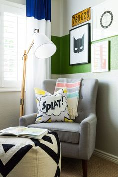 Modern Super Hero Kids Room - modern furniture paired with playful superhero room decor = perfection!