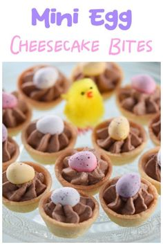 Quick and easy mini egg chocolate cheesecake bites recipe - fun Easter dessert the whole family will love Easy Easter Desserts, Easter Snacks, Easter Recipes, Dessert Recipes, Easter Food, Easter Treats, Easter Bunny, Chocolate Cheesecake Bites Recipe, Chocolate Desserts