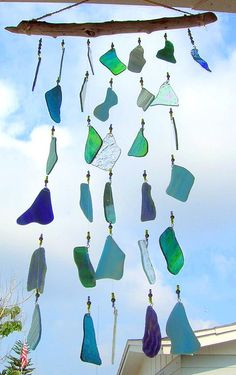 Blue Skies Blue Waves stained glass wind by GlassofManyColors
