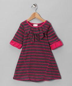 {Fuchsia & Gray Stripe Bubble-Sleeve Dress } So cute.