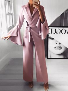 Irregular Flared Sleeve Knot Side Wide Leg Jumpsuit fashion dresses pictures summer outfits style dress for girl,work dresses outfit ideas,party dresses Trend Fashion, Modern Fashion, Womens Fashion, Style Fashion, Ladies Fashion, 50 Fashion, Cheap Fashion, Fashion 2018, Spring Fashion