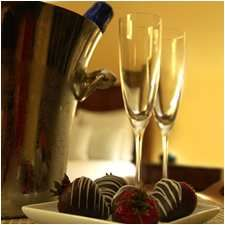 Room service anyone? Chocolate covered strawberries and champaign! Yum!