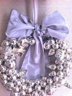 winter wedding or New Year's decor wreath. Silver & lavender with sparkle