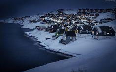 Miasteczko, Góry, Wybrzeże, Norwegia, Noc, Zima