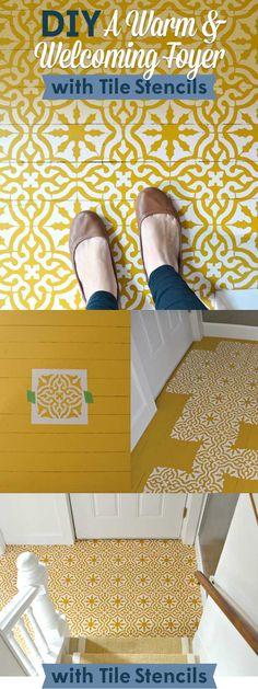 DIY Decor Idea: Make A Foyer Hardwood Floor Warm & Welcoming with Tile Stencils from Royal Design Studio