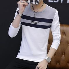 Hot Sale Mens T-Shirts Plus Size Casual Round Collar Men's T Shirts Striped Long Sleeve Slim Fit Patchwork Color Tee Shirt Homme Polo Shirt Design, Tee Shirt Designs, Casual Outfits, Men Casual, Fashion Outfits, Boys Shirts, Tee Shirts, Online Fashion Stores, Mens Clothing Styles