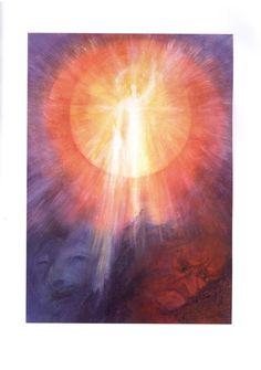 """Twelve Aspects of Michael"" by David Newbatt - Michael, Hero of the Sun (illustration 8 – Leo) Rudolf Steiner, Sun Illustration, Dramatic Arts, Angels And Demons, Visionary Art, Angel Art, Sacred Art, Science Art, Religious Art"