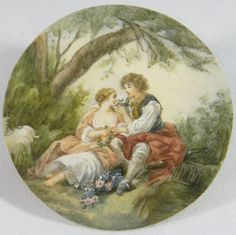 Lovely Miniature Painting on Celluloid Pastoral Scene After Francois Boucher Antique Stores, Hare, Art Decor, My Etsy Shop, Handmade Jewelry, Miniatures, Scene, Antiques, Artwork