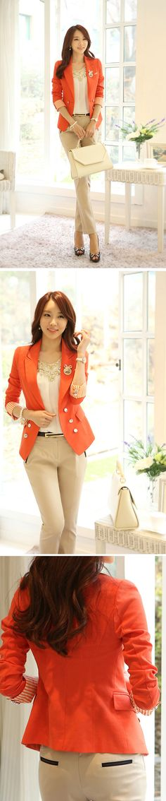 Simple Style Double-Breasted Buckle Blazer for Women, Shop online for $29.80 Cheap Blazers code 706197 - Eastclothes.com