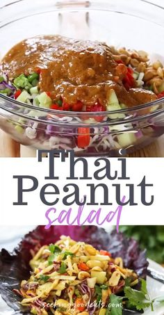 """Thai peanut salad is packed full of Asian flavors (and it's healthy)! This Thai recipe has everything - creamy Thai peanut sauce, crunchy cabbage and peanuts, sweet and a little spice. Add cooked chicken to make a perfect Thai peanut chicken salad for lunch or dinner. A low carb and keto salad recipe that everyone will go """"peanuts"""" over. #salad #thai #slaw #cabbage #thaifood #thairecipe #healthyrecipe #saladrecipe #lowcarb #glutenfree #sugarfree #keto #ketogenic #ketosalad Healthy Thai Recipes, Best Salad Recipes, Diet Recipes, Salad Recipes Low Carb, Cabbage Salad Recipes, Peanut Recipes, No Cook Recipes, Peanut Slaw Recipe, Clean Food Recipes"""