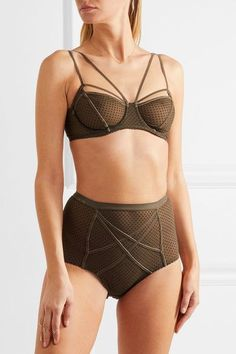 Lonely - Gigi Flocked Stretch-tulle High-rise Briefs - Army green - x small