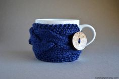 Blue Coffee Mug Cozy, Ready To Ship, Tea Cozy, Coffee Cup Sleeve, Coffee Cozy, Coffee Cup Cozy, Knit Coffee Cozy, Knit Coffee Sleeve