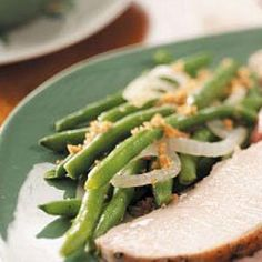 "Celebration Green Beans Recipe -""My husband loves green beans, and really likes this recipe. It's a nice change from a regular green bean casserole!"" —Kimberly Gordon, Virgilina, Virginia"