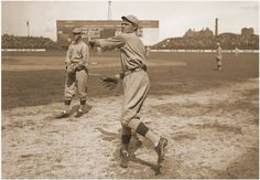 Babe Ruth with the Red Sox, 1918 warming up before a start.