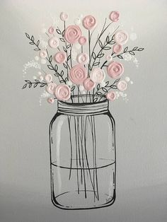 Mason Jar with Pink Flowers Original Acrylic Painting on Canvas Size: 12x16 Depth: 1.5 Color: Soft, pretty shades of pink and white atop a neutral gray background. Black outlining and details. Edges: This canvas is gallery wrapped and painted grey on all the edges so there is no need to frame. Finish: Permanent, professional grade, non-yellowing satin varnish This painting is READY TO SHIP and will be on its way in about 3-5 days. *SHIPPING* I ship Fed Ex or USPS and always get tracking…