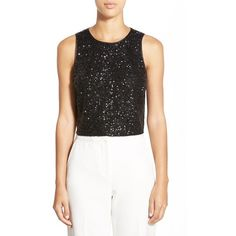 Ivanka Trump Sequin Crop Top ($69) ❤ liked on Polyvore featuring tops, black, black top, sleeveless tops, going out tops, black party tops and sequin sleeveless top