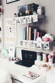 Types Of Study Room To Consider When you Need Your Special Work Place. Study Room For Teenager Decoration Bedroom, Diy Home Decor, Room Decorations, Cluttered Bedroom, Small Bedroom Organization, Organization Ideas, Storage Ideas, Vanity Organization, Study Table Organization