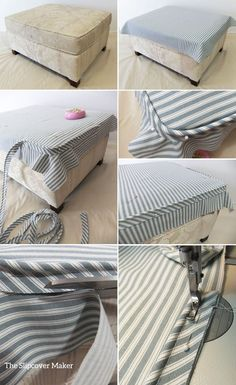 Sewing Projects Ottoman Slipcover Fit Tips - Have you ever made an ottoman slipcover and the top fit too small even though your measurements were spot on? Did the welt cord ride up and pull away from the corners? That's usually what hap… Furniture Projects, Furniture Makeover, Diy Furniture, Reupholster Furniture, Upholstered Furniture, Upholster Chair, Ottoman Slipcover, Slipcovers, Ottoman Cover