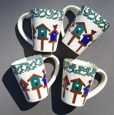 4 BIRDHOUSE CUPS GIBSON DESIGNS STONEWARE GREEN BLUE SPONGE COFFEE TEA BIRDS #Gibsondesigns
