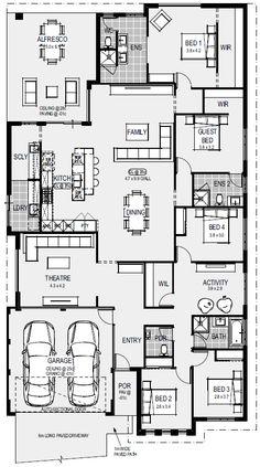bathroom he Athens Floorplan 4 Bedroom House Plans, Duplex House Plans, House Layout Plans, Dream House Plans, Small House Plans, House Layouts, House Floor Plans, House Construction Plan, Model House Plan