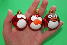 Angry Birds ornaments: made these at a B reading night and kids of all ages loved them! Super easy with any type of ornament and paint markers. They looked great without the Santa hats.