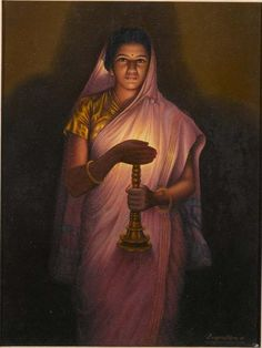 Raja Ravi Varma, Lady with the lamp (reproduction) Kerala Painting- beautiful effect of the light from the lamp.