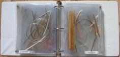 Store knitting needles in a binder.