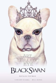 Black Swan Movie Poster Cream French Bulldog Print Giclee Print Painting Art Anthromorphic Dog Artwork Dog Wearing Clothes Whimsical Quirky Anthro
